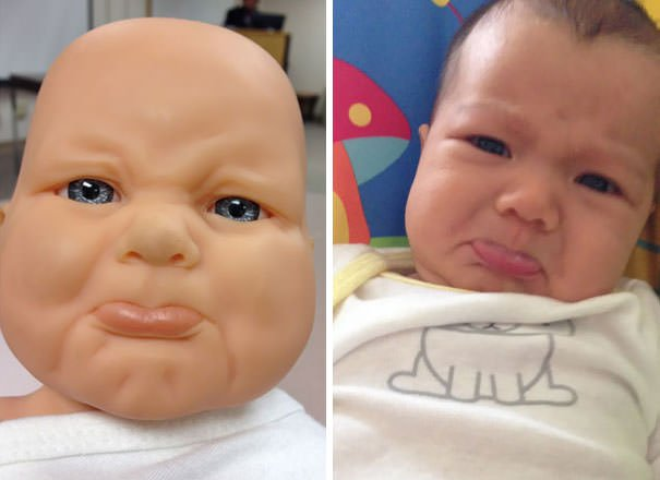 Baby On The Left Is A Doll From Our Parenting Class In February. Baby On The Right Is Our Daughter Who Was Born 2 Months Later