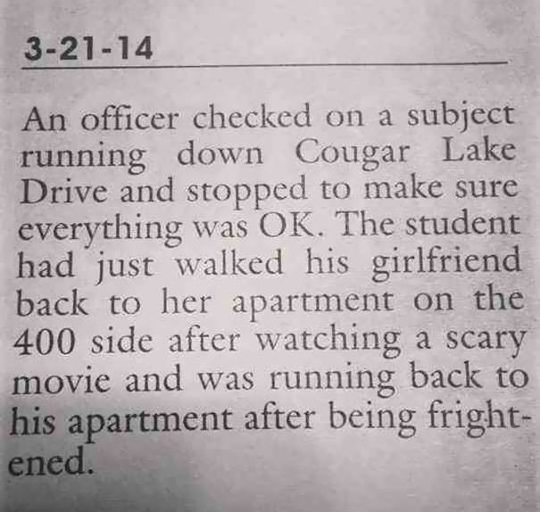 Actual Police Report From My University