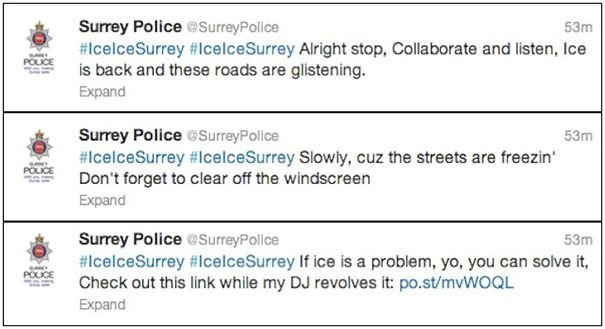 This Is How Surrey Police (UK) Have Tweeted Warnings About Icy Roads - In The Style Of Vanilla Ice