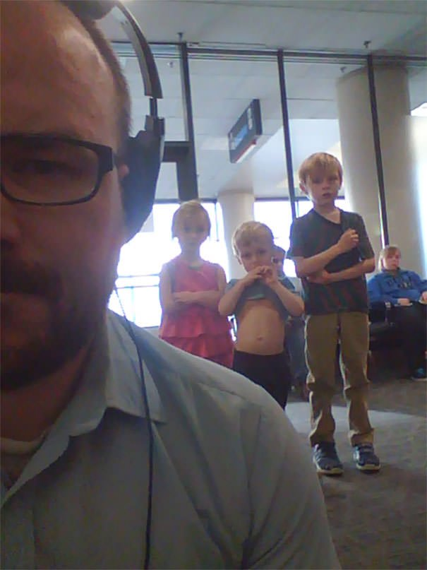 I Was Watching The Avengers On My Laptop At The Airport... This Was Happening Behind Me