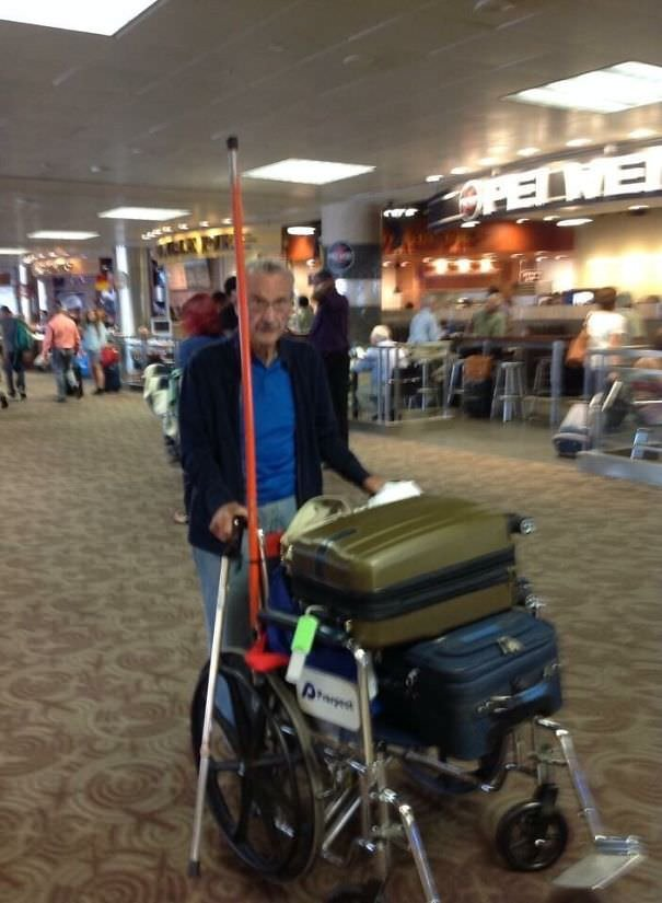 Told Gramps It Would Be Easier To Use A Wheelchair To Get Thru The Airport