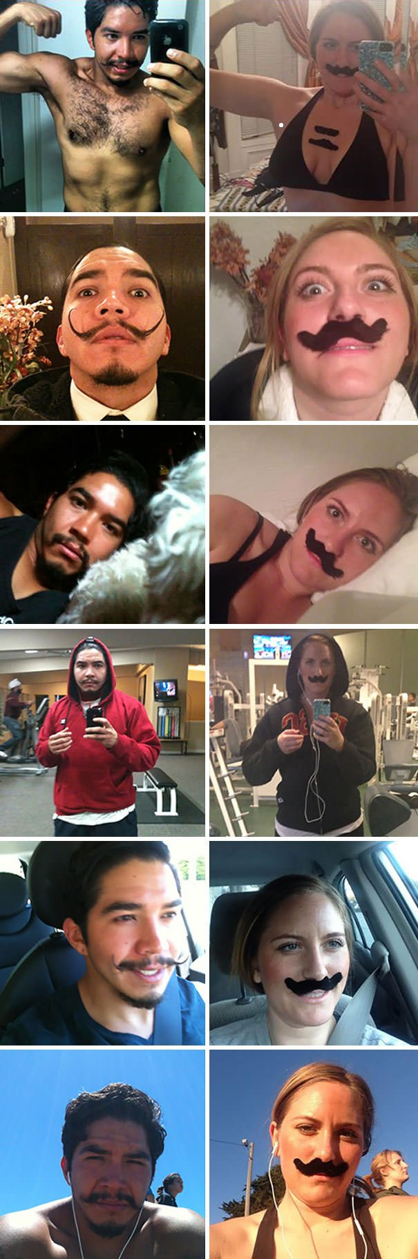 On January 1, 2013 My Phone Escaped Me And Somehow Fell Into The Hands Of A Man With A Killer Mustache. Thanks To Apple And Some Kinks In The Cloud, I Receive All Of His Pictures In My Photo Stream. Here Are His Selfies As Re-Enacted By Yours Truly