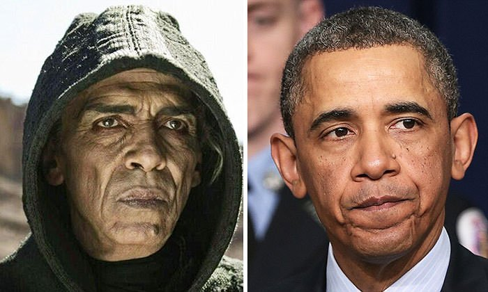 """President Barack Obama And The Devil Played By Actor Mehdi Ouzaani On TV Series """"The Bible"""""""