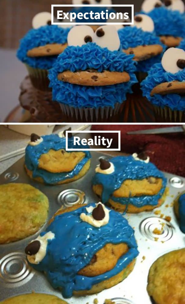 Cookie Monster Cupcakes Gone Wrong
