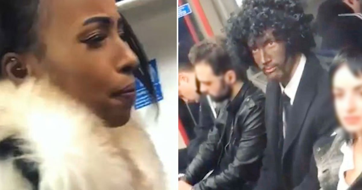 black face halloween.jpg?resize=1200,630 - London Tube Passenger Accused A Man Of Being Racist As He Painted His Face Black For A Halloween Costume
