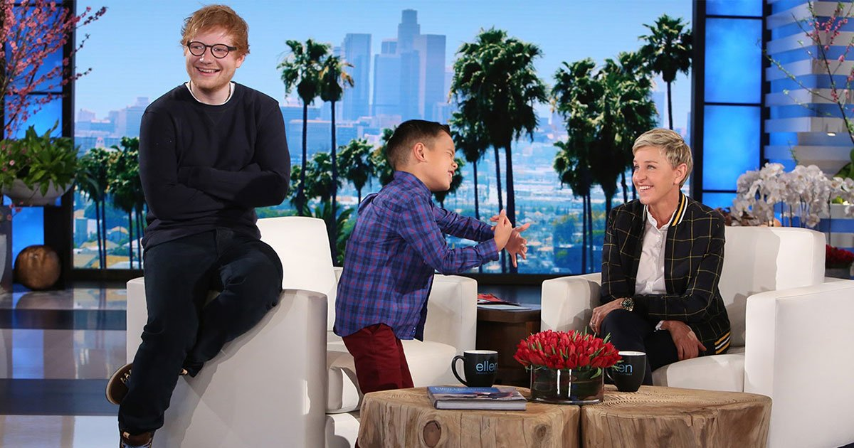 boy sings ed sheerans song on ellens show and has no idea ed is sitting behind him.jpg?resize=412,232 - Boy Sang Ed Sheeran's Song On The Ellen Show And Had No Idea The Singer Was Sitting Behind Him