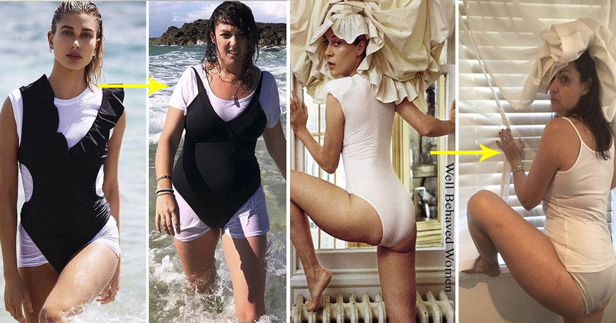 ddssfsf.jpg?resize=1200,630 - Woman Recreated Celebrities' Instagram Pictures And The Results Are Hilarious