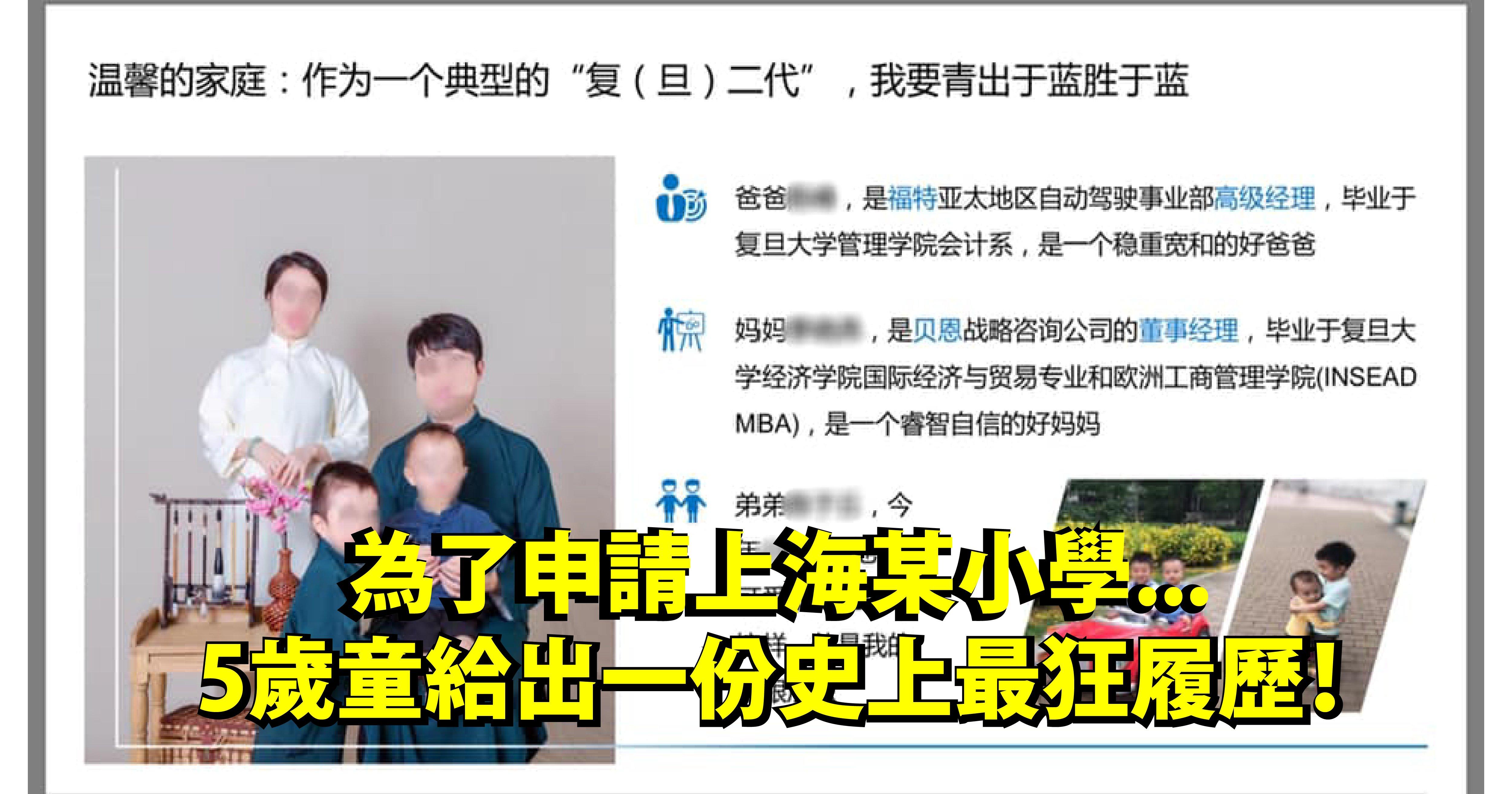 e5b081e99da2 02.png?resize=412,232 - 強國94狂!5歲童申請上海某小學交出的「15頁履歷媲美商業報告」... 網友全驚呆