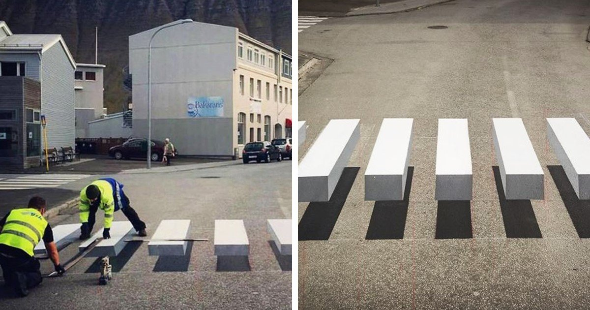 featured image 17.jpg?resize=732,290 - This 3D Painted Crosswalk Designed To Slow Down Traffic Looks Like It's Floating In The Air