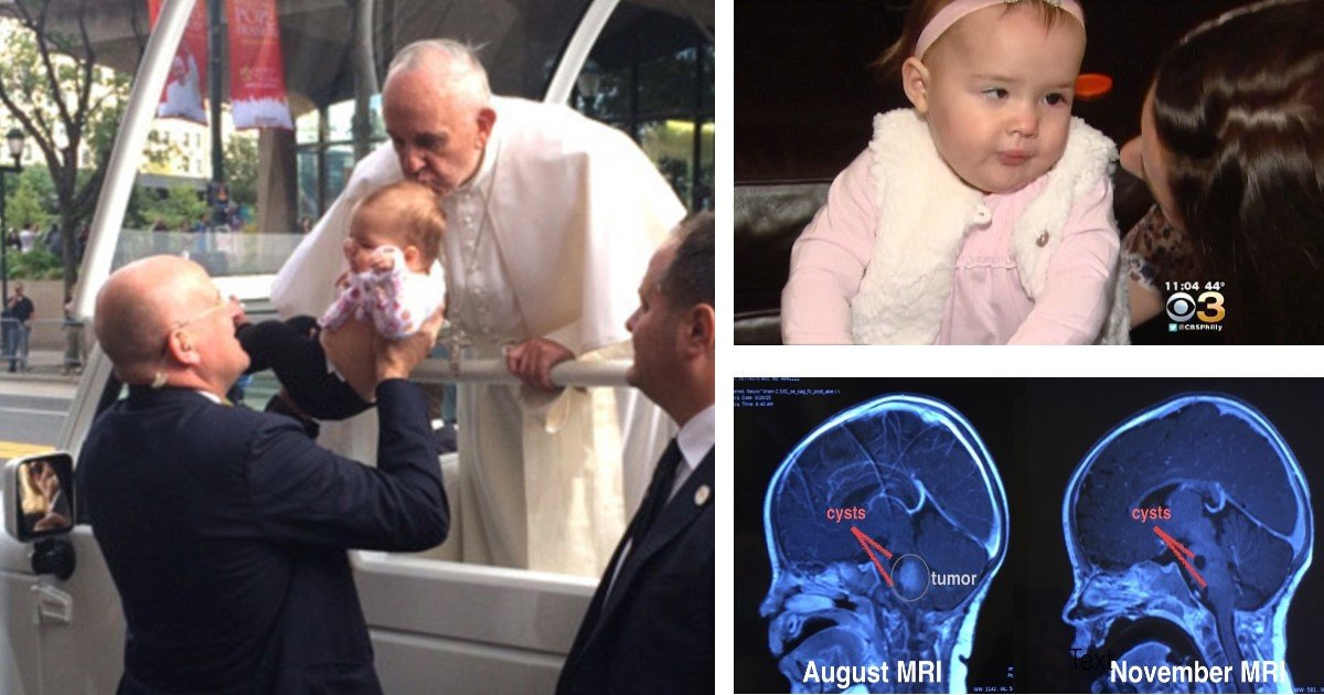 featured image 23.jpg?resize=412,232 - 14-Month-Old Makes Miraculous Recovery From Brain Tumor After Pope Francis Kissed Her Head