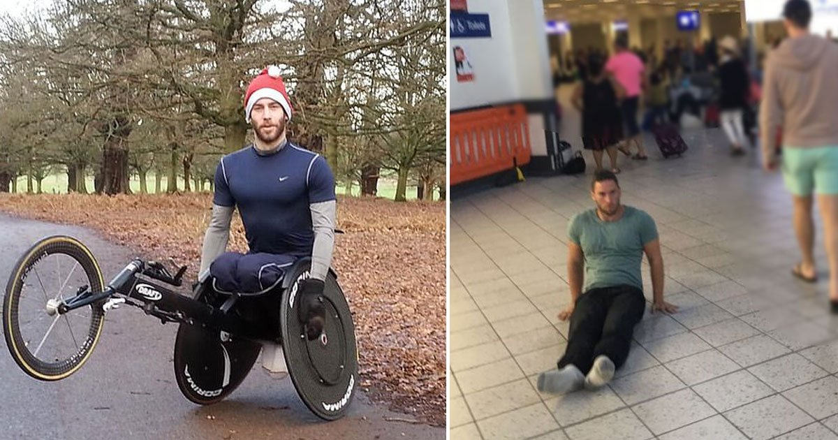 man drags himself.jpg?resize=1200,630 - Paraplegic Man Drags Himself Through Airport After His Wheelchair Was Left Behind On A Flight