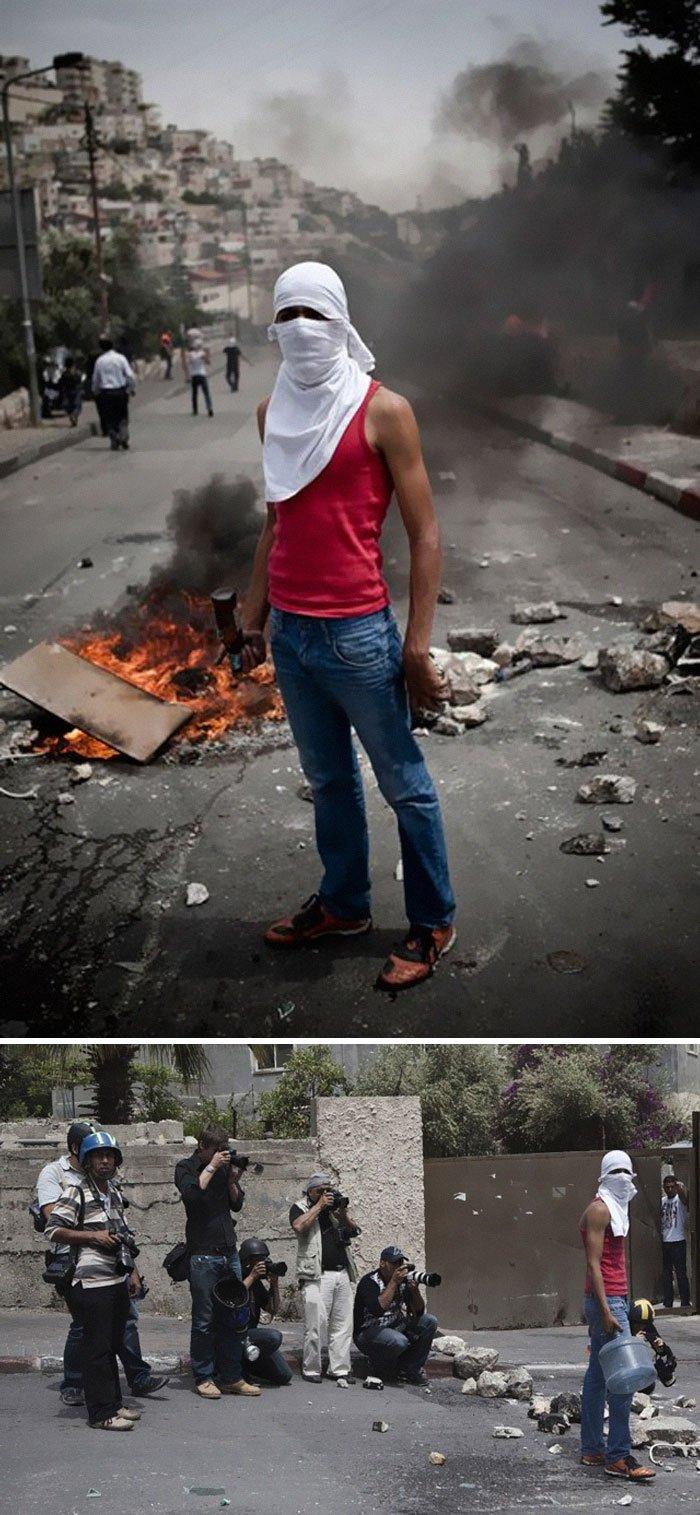 Le photographe Ruben Salvadori a couvert le conflit entre soldats israéliens et jeunes palestiniens. La photo ci-dessus a été mise en scène en coopération avec un jeune Palestinien