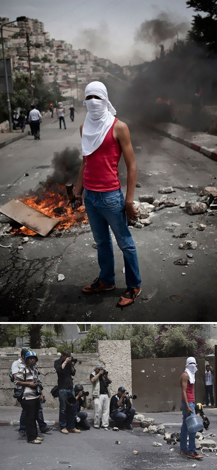 Photographer Ruben Salvadori Covered The Conflict Between Israeli Soldiers And Palestinian Youths. The Picture Above Was Staged In Cooperation With A Young Palestinian