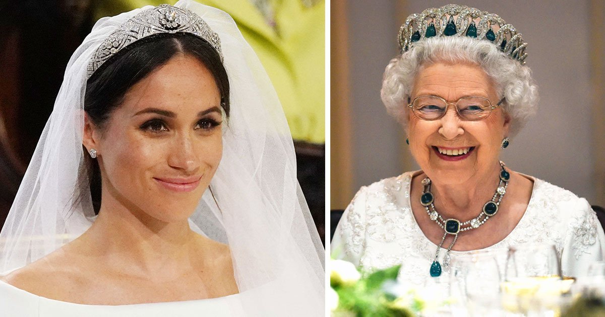 meghan queen.jpg?resize=300,169 - The Queen Said: 'She Gets What Tiara She's Given By Me' When Harry Accompanied Meghan To Pick Out Her Wedding Tiara