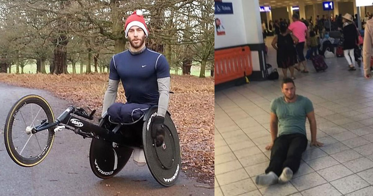 paraplegic athlete sues luton airport as he was forced to drag himself through the terminal.jpg?resize=412,232 - Paraplegic Athlete Sues Luton Airport As He Was Forced To Drag Himself Through The Terminal