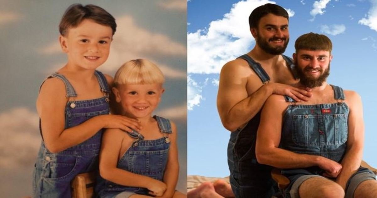 6 86.jpg?resize=412,232 - 23 Adorable Times People Recreated Their Childhood Photos