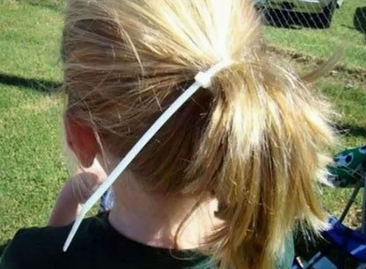 16 Funny Dads - This dad that was asked to make a ponytail.