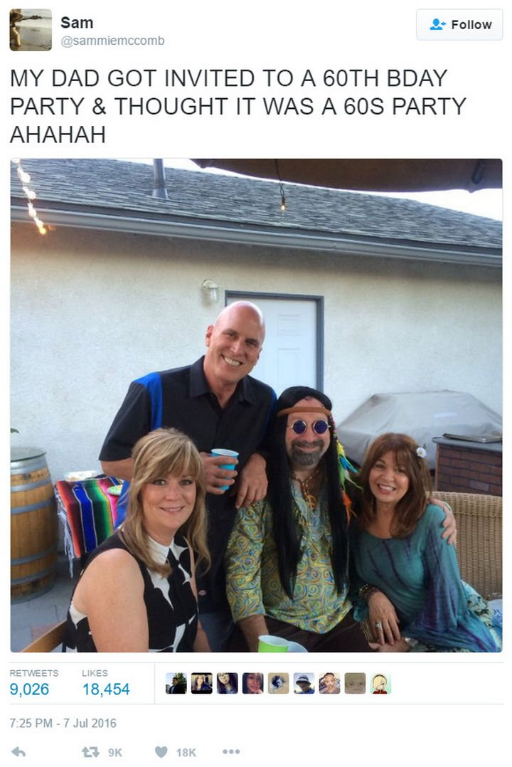 16 Funny Dads - This dad dressing up for a 60th birthday party.