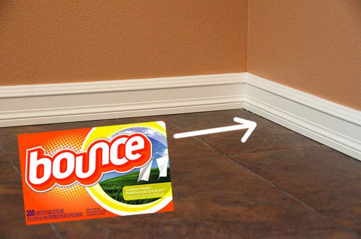 16 Cleaning Tips and Hacks - Keep your baseboards clean with dryer sheets.