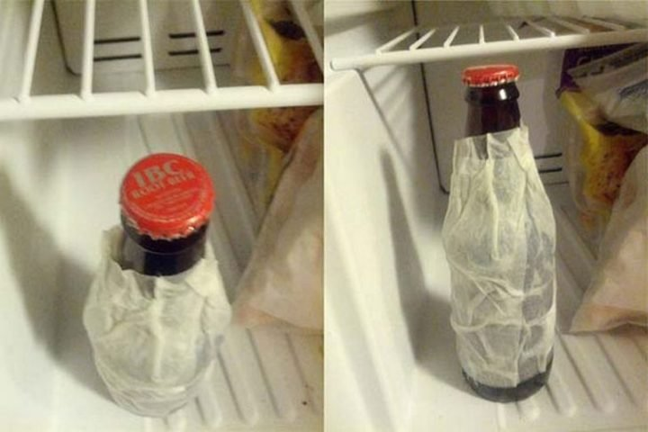 17 Kitchen Hacks - Wrap a wet napkin around your beer and get nice cold beer in only a few minutes.