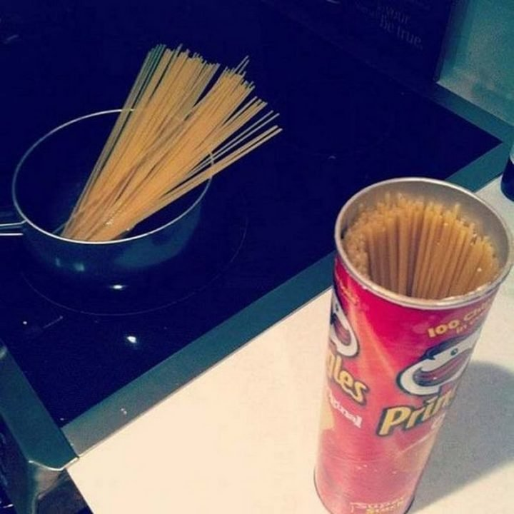 17 Kitchen Hacks - Save your Pringles containers and use them to store pasta or a variety of things around the house.