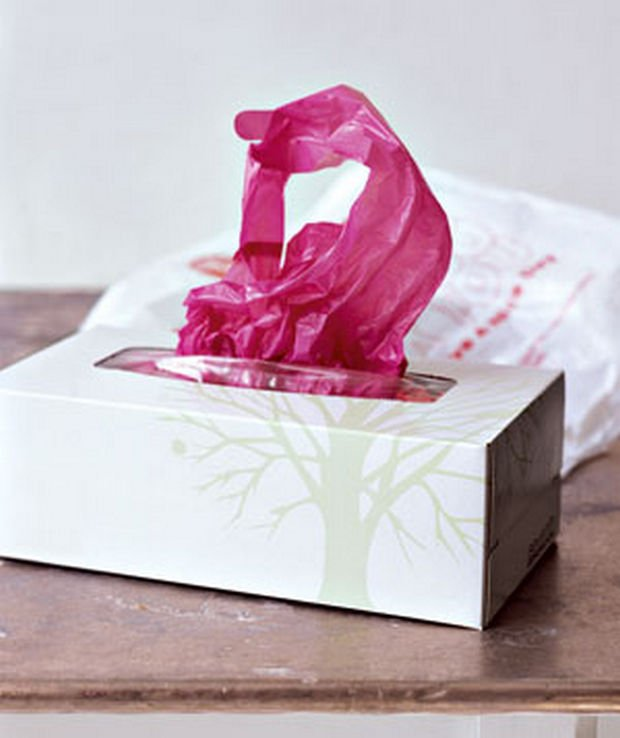 18 Upcycling Ideas - Recycle used tissue boxes to hold plastic bags instead.