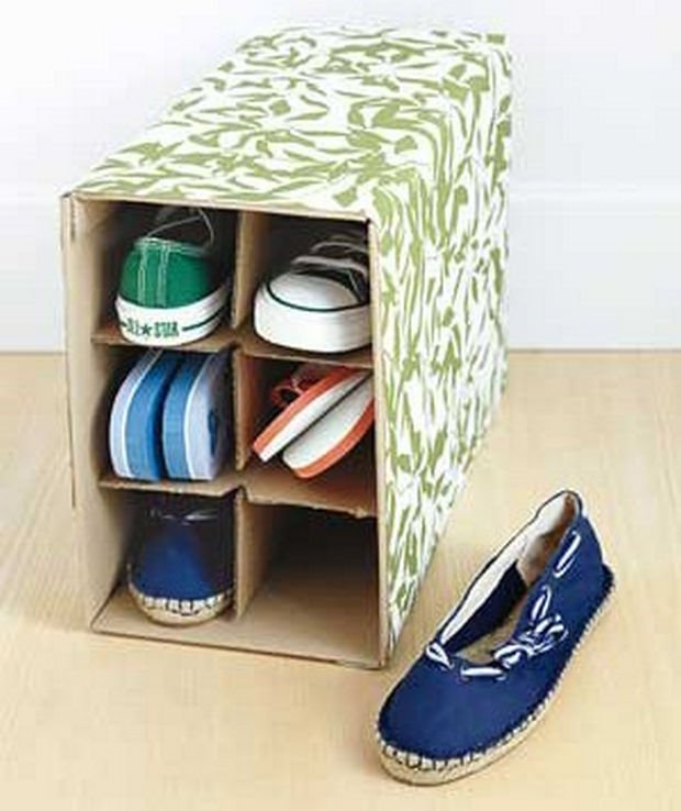 18 Upcycling Ideas - Transform a wine box into a decorative shoe box.