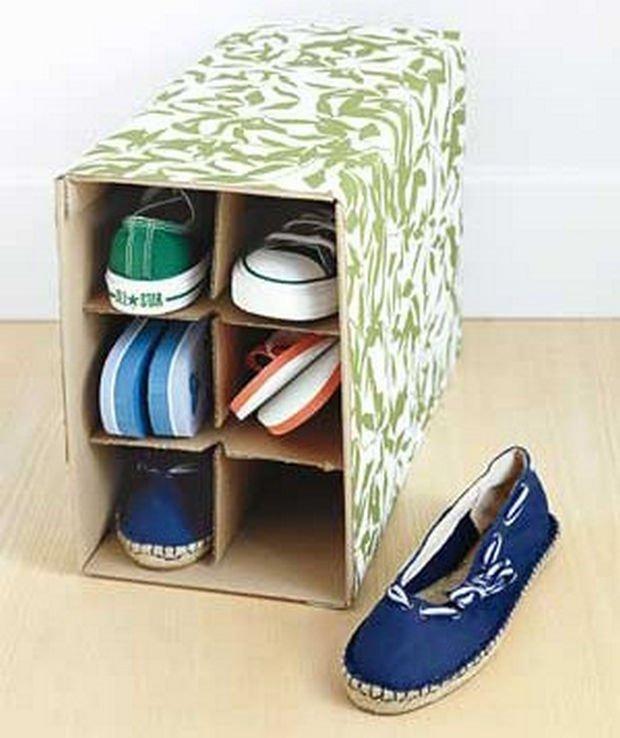 18 Upcycling Ideas - Transform a wine box into a decorative shoe box.