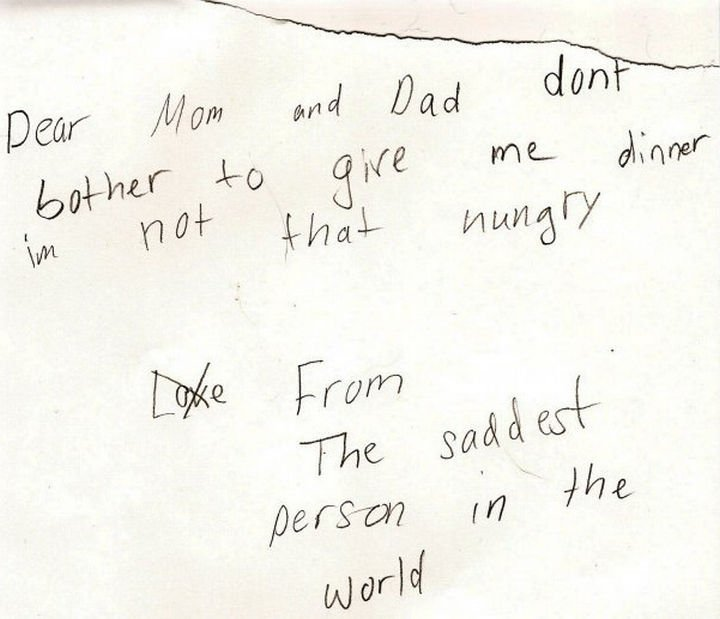 19 Clever Kids - This little girl wrote a letter to her parents after she was sent to her room for bad behavior. Note how she crossed out