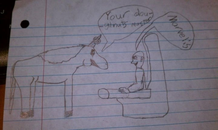 19 Clever Kids - On the back of the page, unicorns feeding donuts off their horns to Mr. Ramon sitting in his jewel-encrusted chair. I hope this kid decides to be a movie writer.