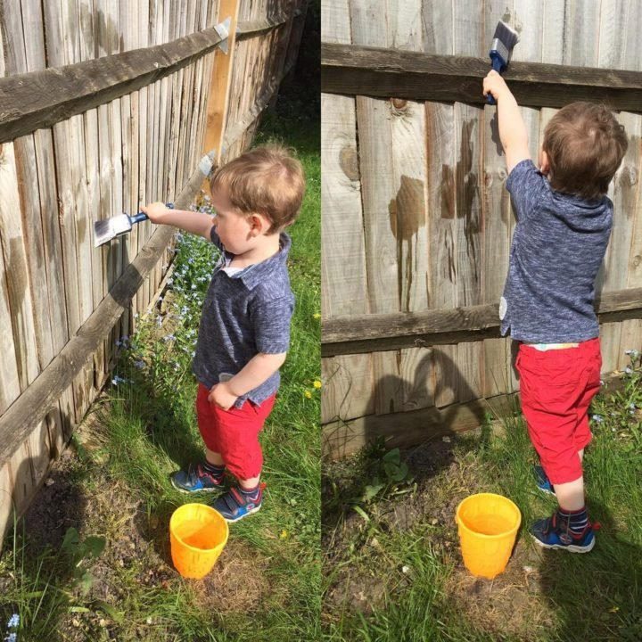 """21 Best Mom Hacks - Keep your toddler busy by letting them paint the fence """"toddler style"""" with water."""
