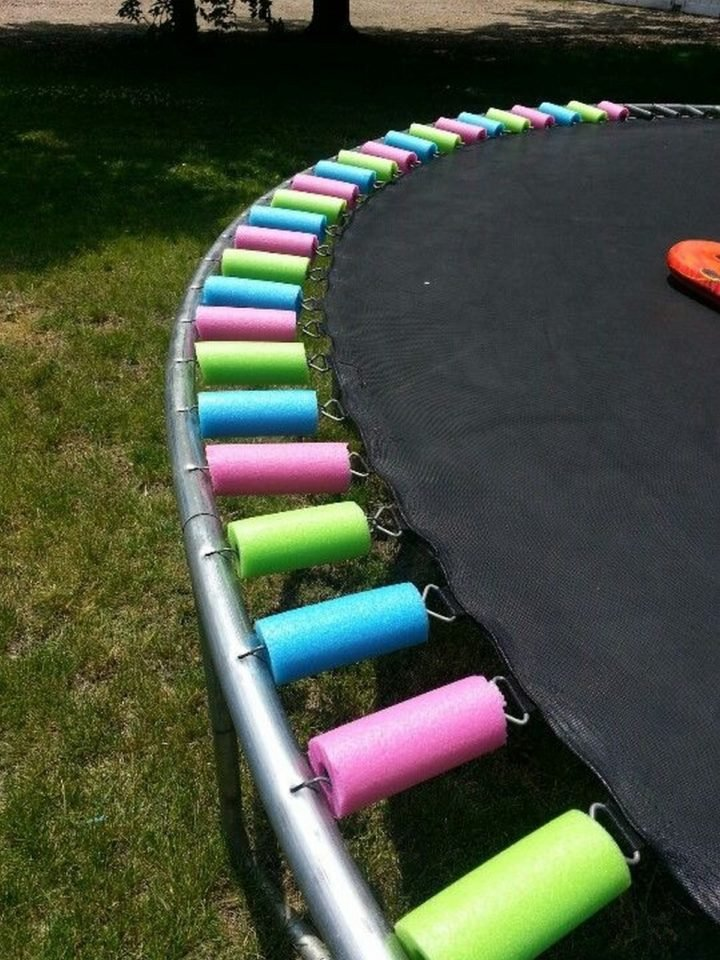 21 Best Mom Hacks - Use pool noodles to protect kids from injuring themselves on trampoline springs.