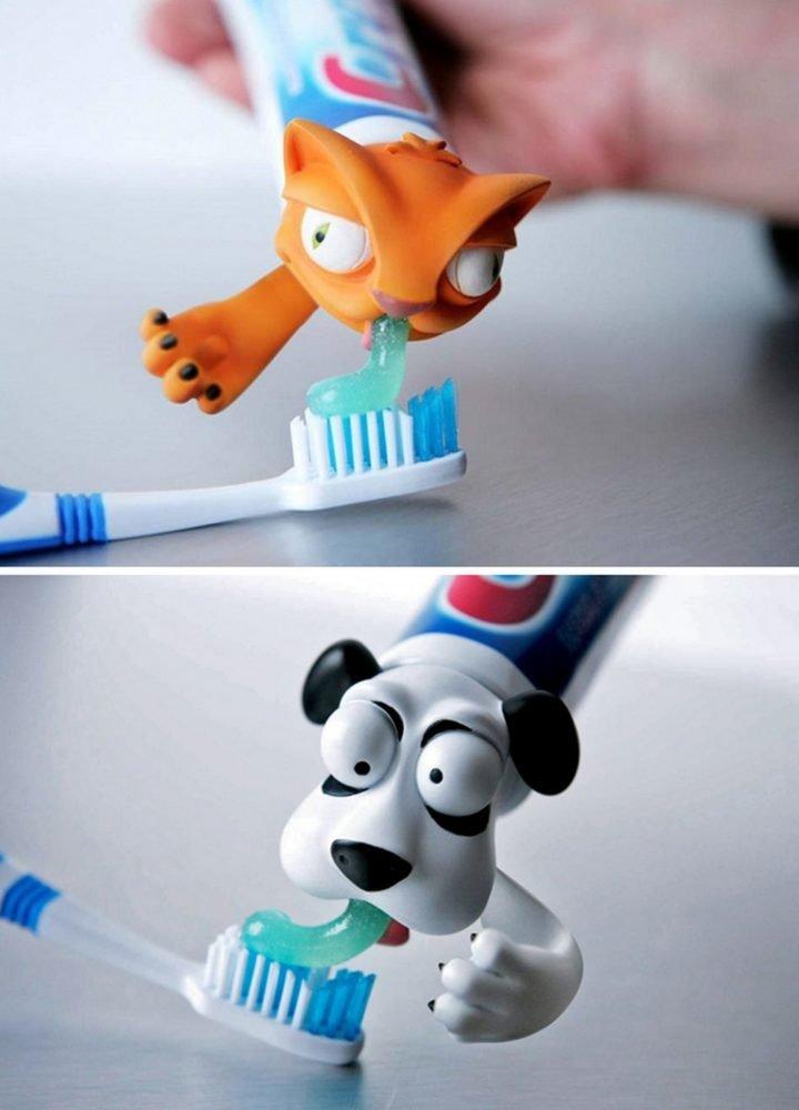 21 Best Mom Hacks - Use animal toothpaste caps to make brushing their teeth fun.