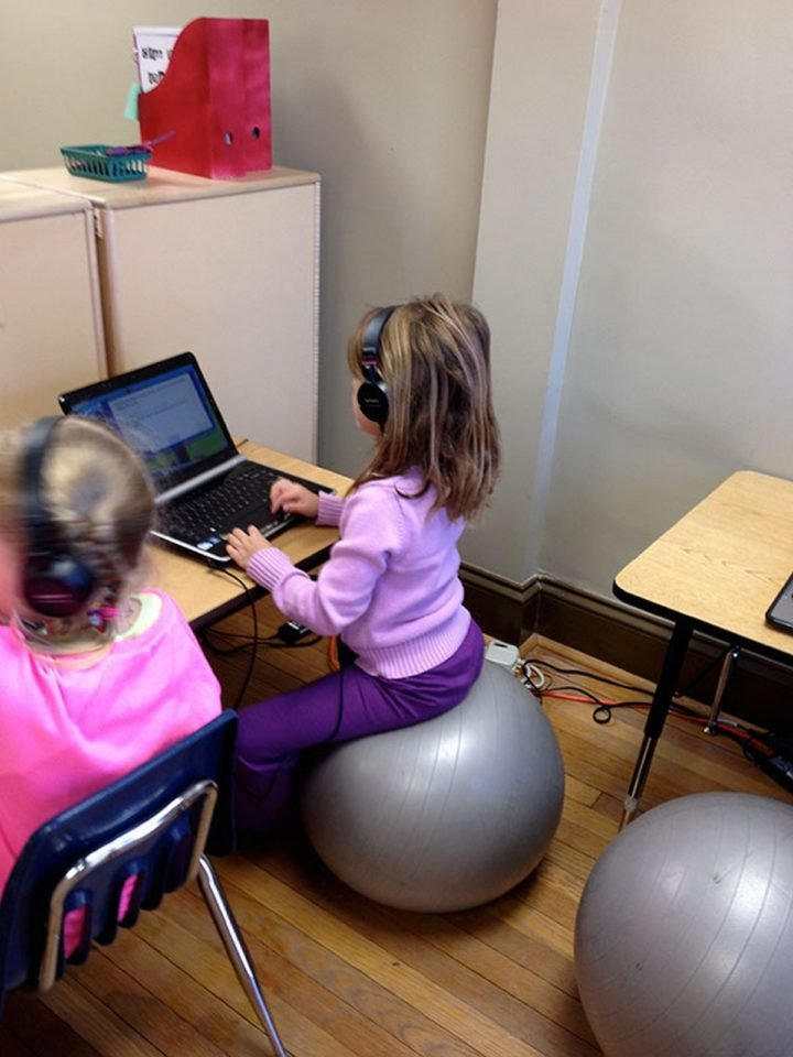 21 Best Mom Hacks - Let your kids sit on a stability ball to help improve their posture and balance.
