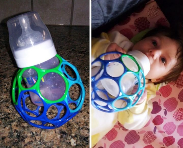 21 Best Mom Hacks - Make a DIY bottle holder so babies hold the bottle by themselves.