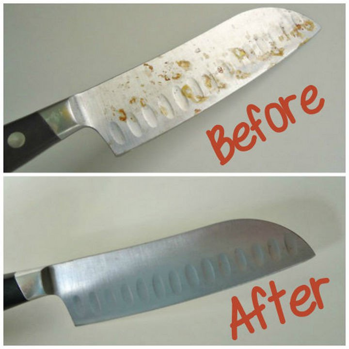 35 House Cleaning Tips - Remove rust from your metal knives.
