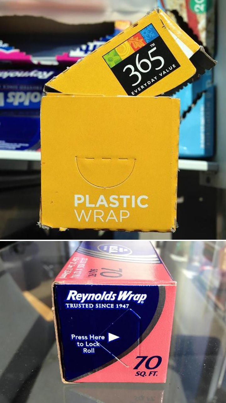 21 Everyday Life Hacks - Most wrap roll containers have tabs to lock the roll in place.
