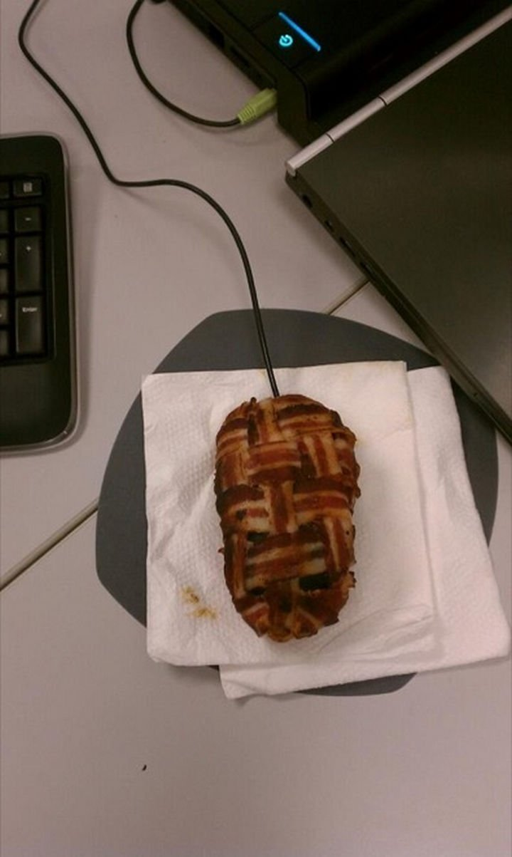 25 Office Pranks - Skipped breakfast? Bacon truly is great on anything.