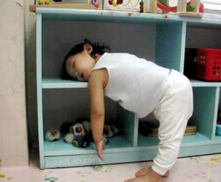 25 Kids Sleeping in the Strangest Places - A bookshelf is the perfect place for a nap.