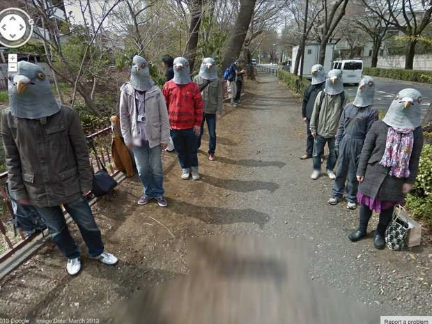 25 Weird Things Found on Google Maps - Imagine going for a walk and encountering bird people.