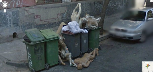 25 Weird Things Found on Google Maps - Yes, those are mannequins in a dumpster and it