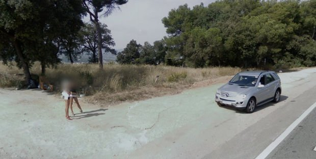 25 Weird Things Found on Google Maps - This driver is interested in what these ladies are selling.