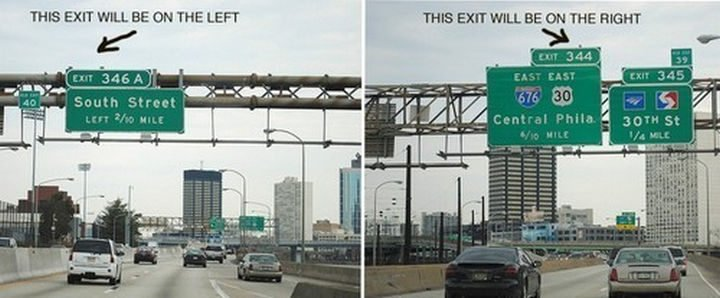 26 Simple Life Hacks - Always know what side the exit will be on.