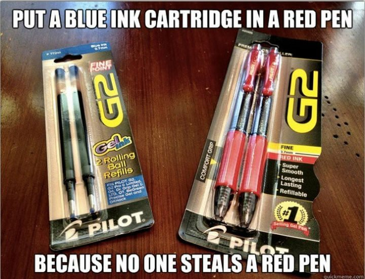 26 Simple Life Hacks - Stop people from stealing your favorite pens.