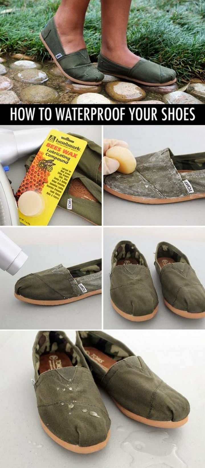 26 Simple Life Hacks - Waterproof canvas shoes with bees wax.