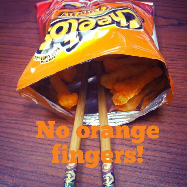 26 Simple Life Hacks - A great way to avoid Cheetos fingers. Practice your chopstick skills at the same time!