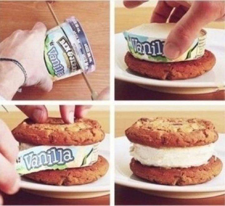 26 Simple Life Hacks - Instant ice cream sandwiches.