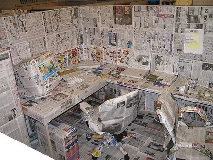 26 Funny Office Pranks - For the person who still loves to get their news from print.