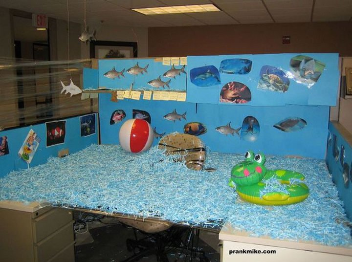 26 Funny Office Pranks - Who needs to take a vacation? Bring the sunny beaches to your office.