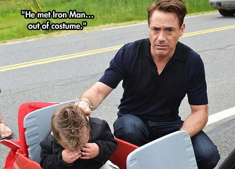37 Photos of Kids Losing It - He met Iron Man...out of costume.